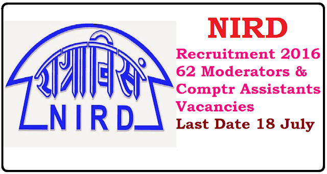 National Institute of Rural Development and Panchayati Raj – NIRD Recruitment 2016 – 62 Moderators & Computer Assistants Vacancies – Last Date 18 July /2016/06/nird-recruitment-2016-62-moderators-computer-assistants.html