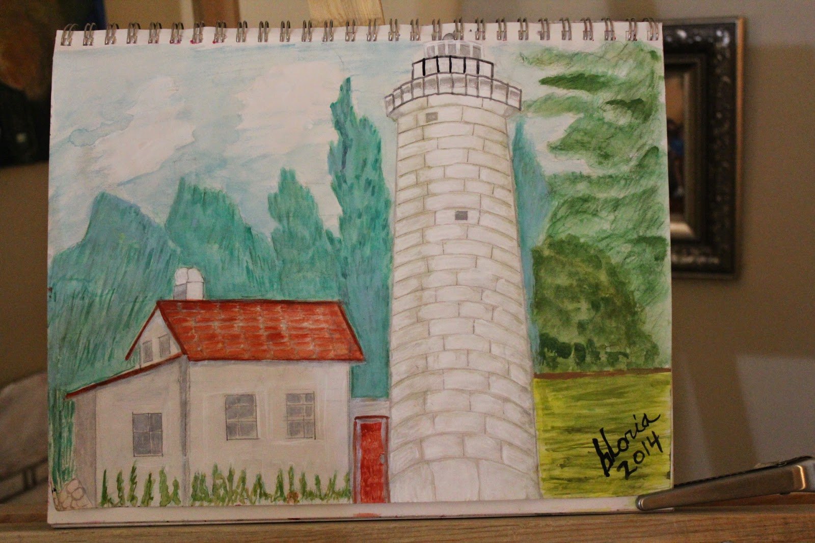 """Great Lakes Lighthouse as seen from water"" sketch by Gloria Poole of Missouri;2014"