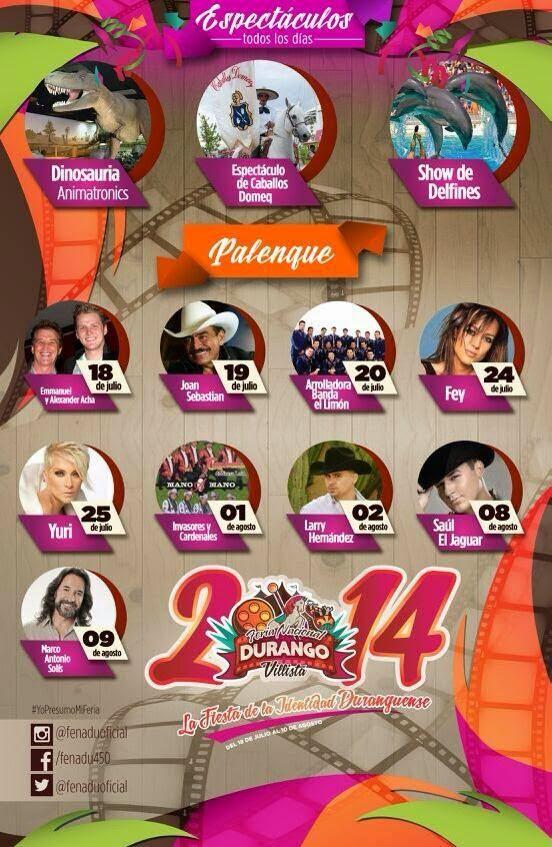 Cartelera Palenque Fenadu Feria Nacional Durango