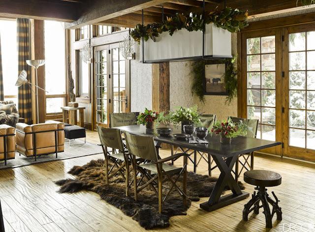 image result for dining room fur rug ski house in Montana mountains designed by Ken Fulk Halfway House