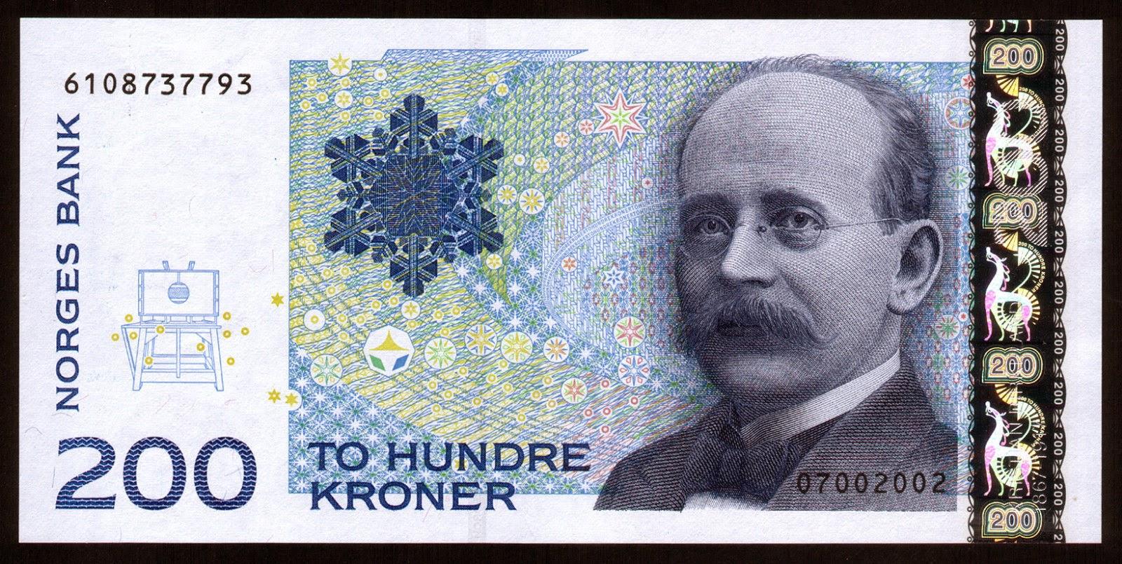 Currency of Norway 200 Norwegian Kroner note