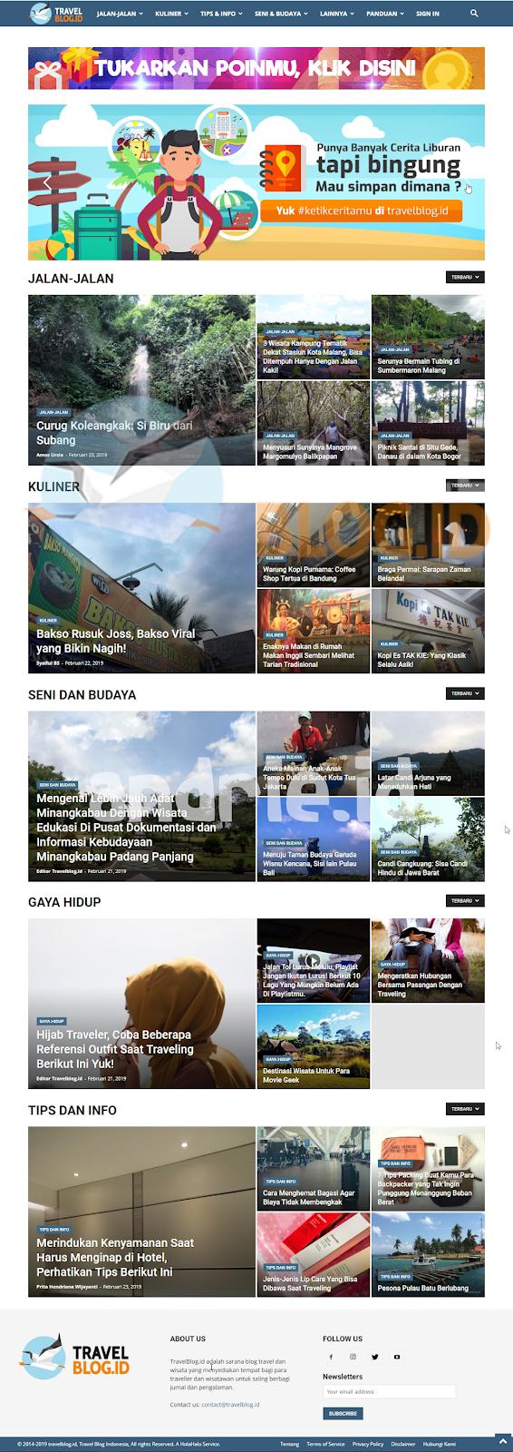 Kategori Tulisan yang ada di TravelBlog.id