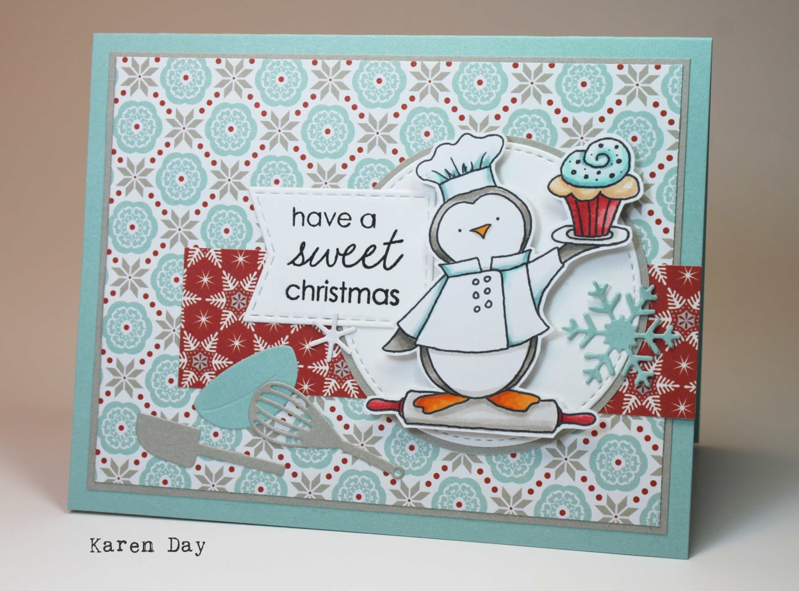Karens creations a sweet christmas card i got these adorable kitchen dies from your next stamp this fall so i added a few along with some snowflakes i fussy cut out my penguin and popped him up kristyandbryce Gallery