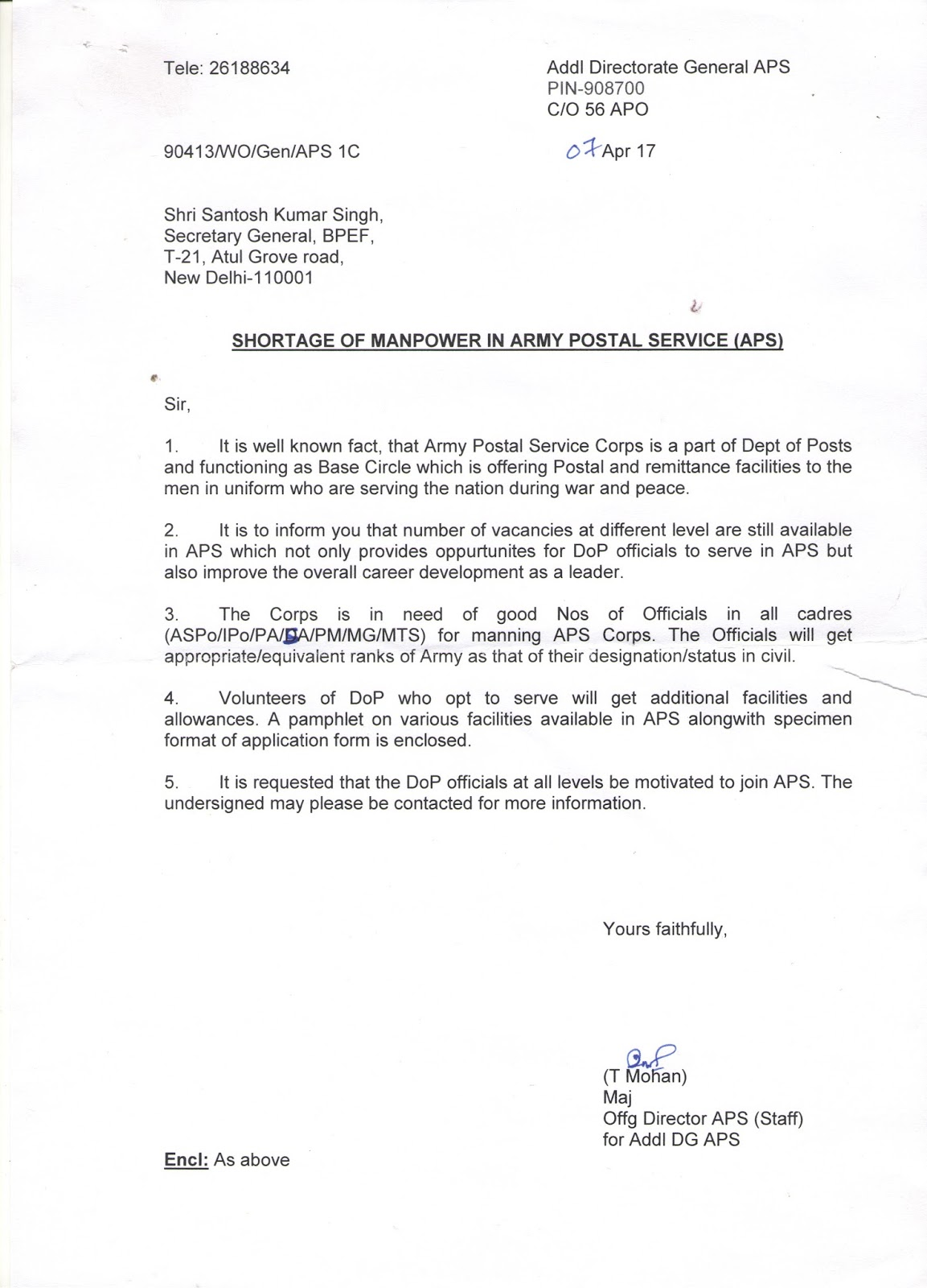 bharatiya postal employees federation appeal from aps head quarter to join service in aps