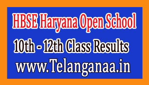 HBSE Haryana Open School 10th and 12th Class Results 2016