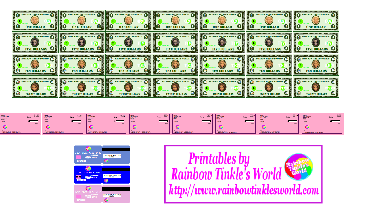 Rainbow Tinkle S World Get That Money Diy Miniature Barbie Doll Printable Cash Checks Credit Cards