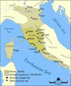 خريطة توضح انتشار الحضارة الإترورية والمدن الإثنى عشر للرابطة الإترورية