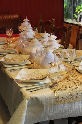 photo deco table noel argent et or