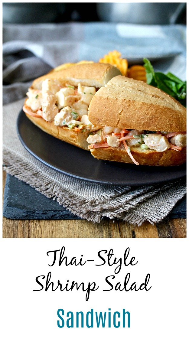 Thai-Style Shrimp Salad Sandwiches with chips and salad