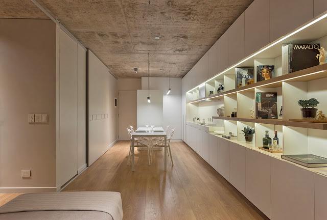 cocina blanca minimalista integrada