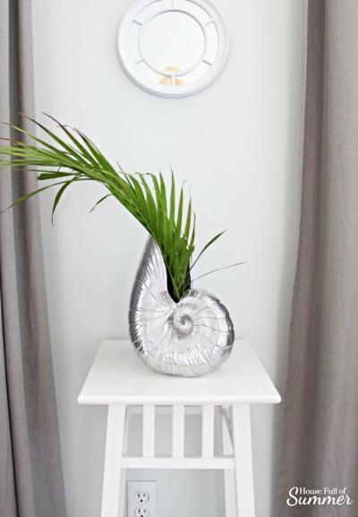 Palm Leaf in Shell Vase Decor Idea