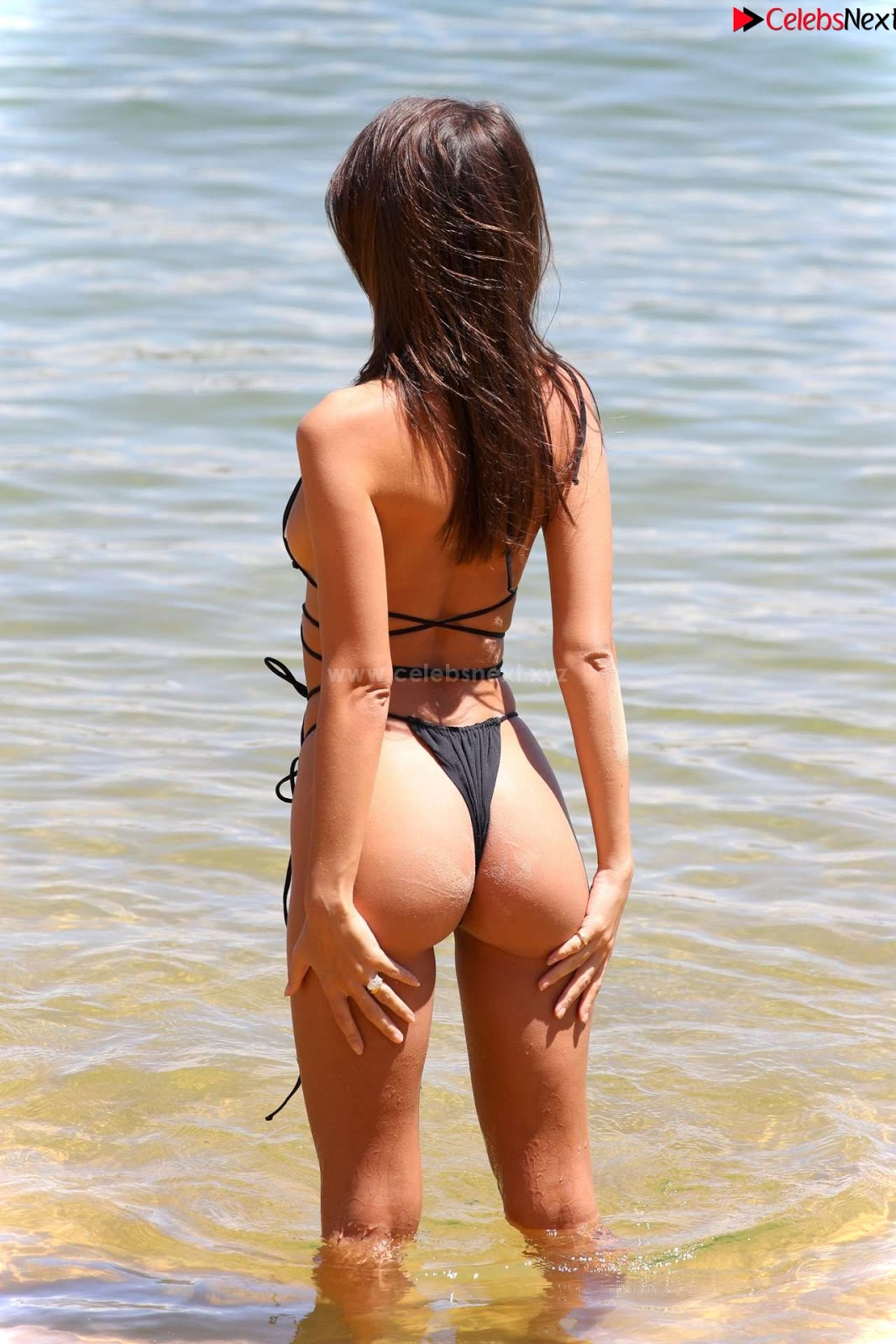 Emily Ratajkowski in Black Thong Bikini Beautiful Ass hot pussy celebritybooty.co Exclusive