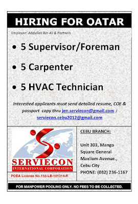 FOREMAN,CARPENTER AND HVAC TECHNICIAN JOB FOR QATAR