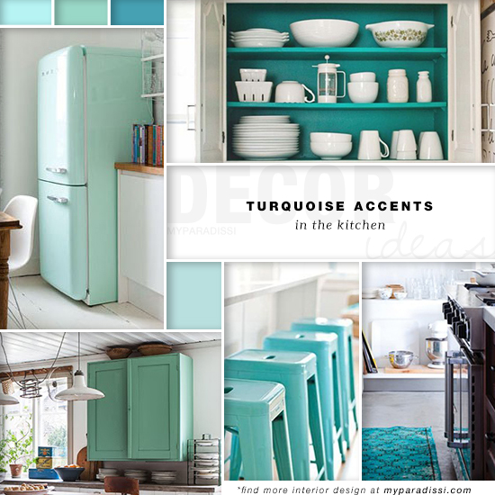 Turquoise accents in the kitchen by My Paradissi