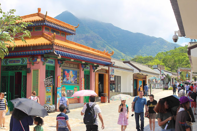 Streets of Ngong Ping Village in Hong Kong