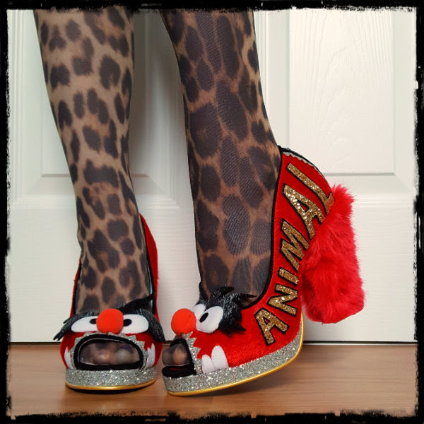 wearing fur heeled Irregular Choice Muppets Animal Louder Louder red shoes