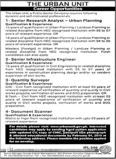 Punjab Government Urban Unit Lahore Jobs 2019