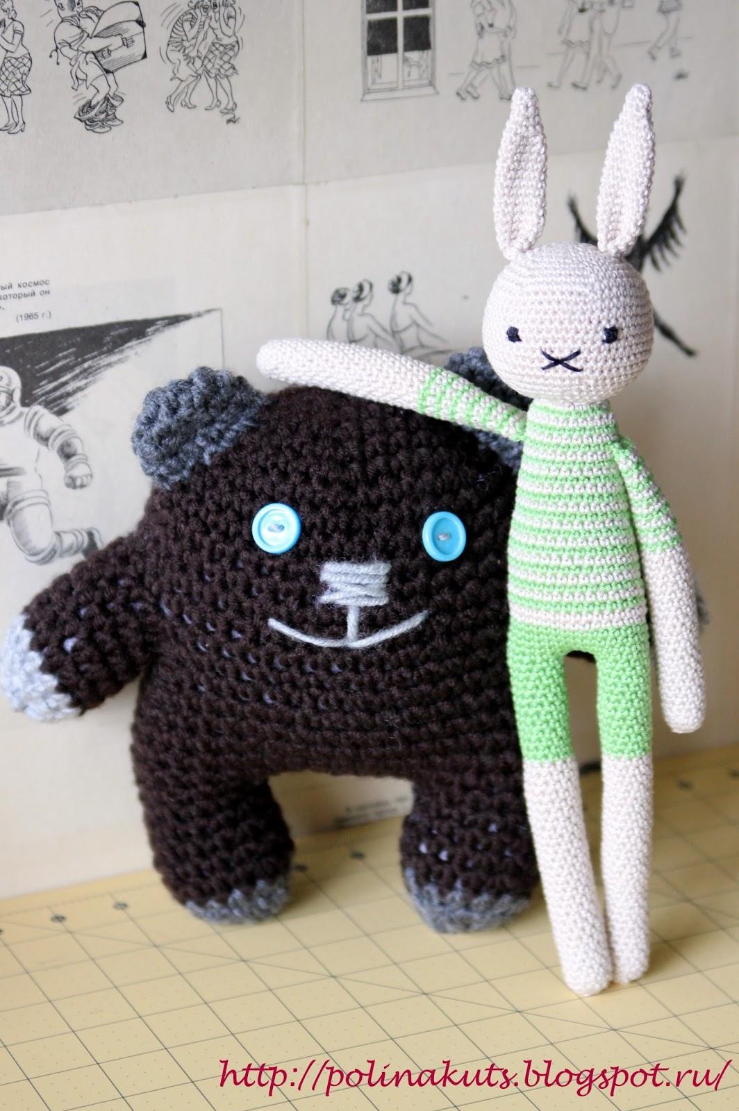 Polina Kuts вязаные игрушки медведь головоног и заяц астеник