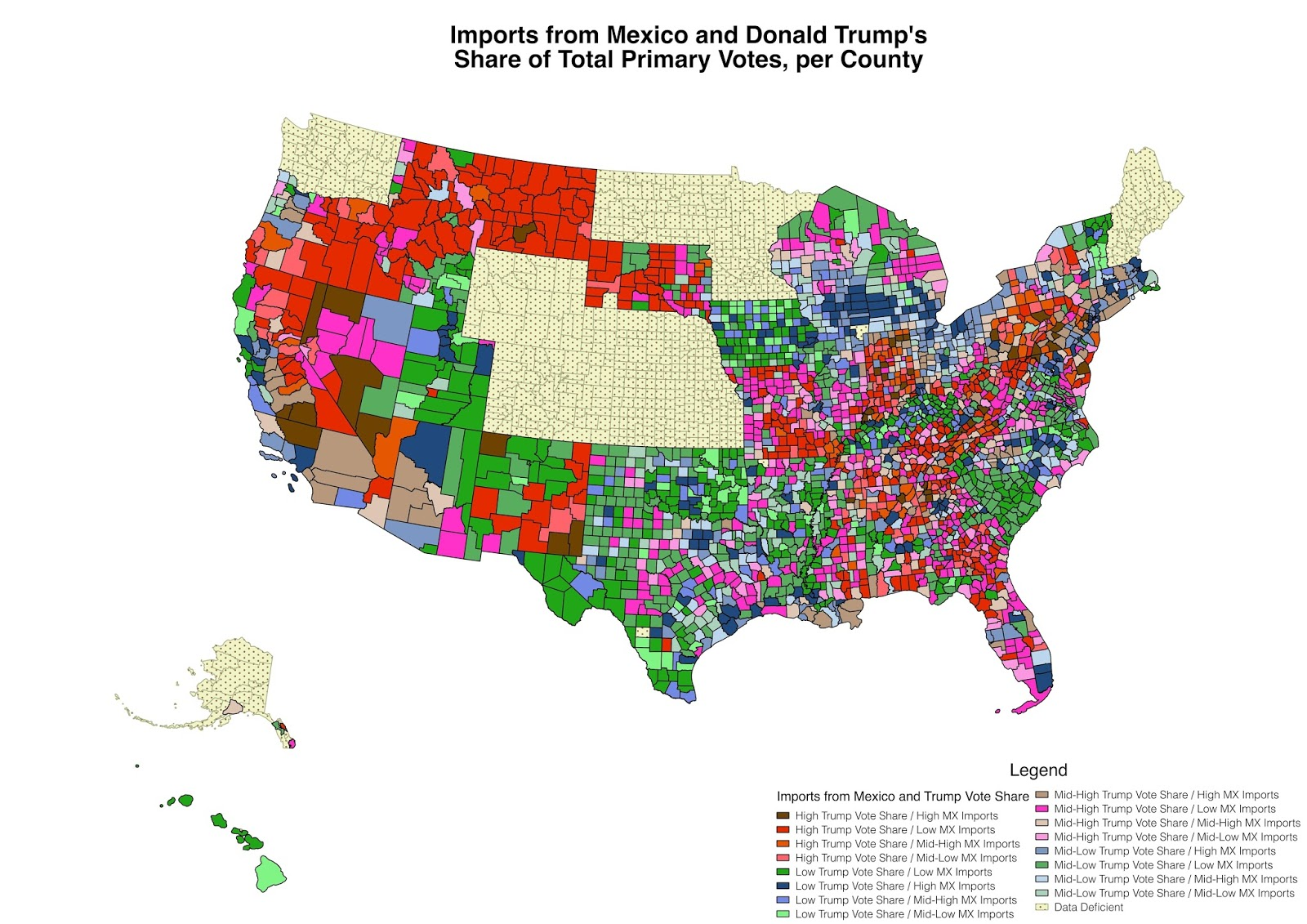 Imports from Mexico and Donald Trump's share of total primary votes, per county