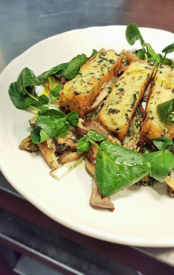 Collier's Cheddar Polenta with Grilled Lettuce & Salsa Verde