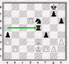 Posición de la partida de ajedrez Jonathan Penrose vs. Olaf Ulvestad en 1970, después de 47... Te5