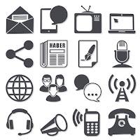 Çeşitli kitle iletişim ve haberleşme araçları gösteren simgeler