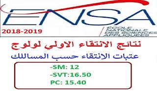 نتائج الانتقاء الأولي المدارس الوطنية للعلوم التطبيقية ENSA 2018
