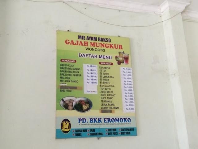 daftar menu bakso gajah mungkur