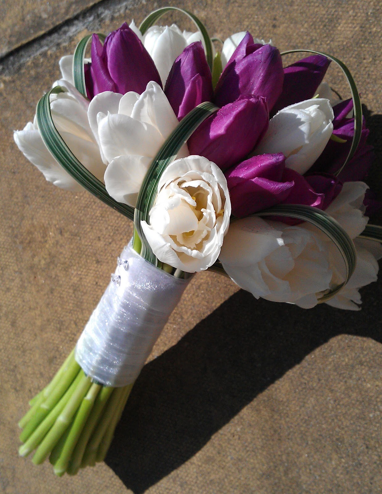 Bridal Bouquet White Roses, Dark Purple Tulips, and ...
