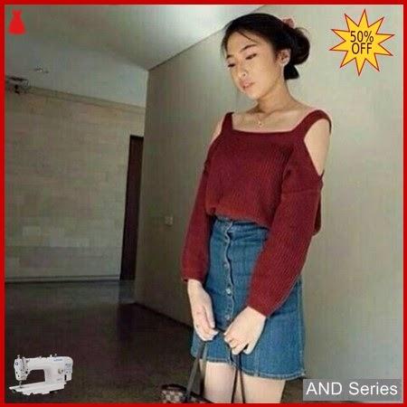 AND050 Sweater Wanita Rajut Sabrina Merah Maroon BMGShop