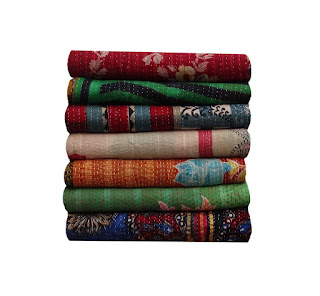 Wholesale Vintage Sari Kantha Quilt Indian Handmade Reversible Kantha Throw