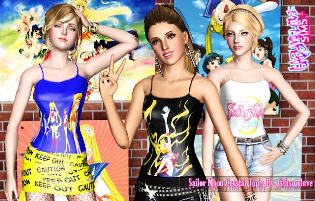 Sailor Moon Crystal Tops - B, Sims 3. Gabymelove Sims.