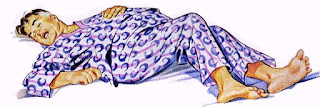 Illustration of 1947 man sleeping in pyjamas