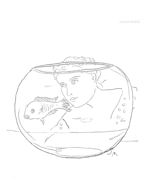 fishbowl, art, drawing, arte, minimal, minimalist, contemporary, minimalism, fish, pescado, goldfish, glass, bowl, figurative, woman, lady, swim, simple, sketch, eyes, globe, modern, design, dibujo