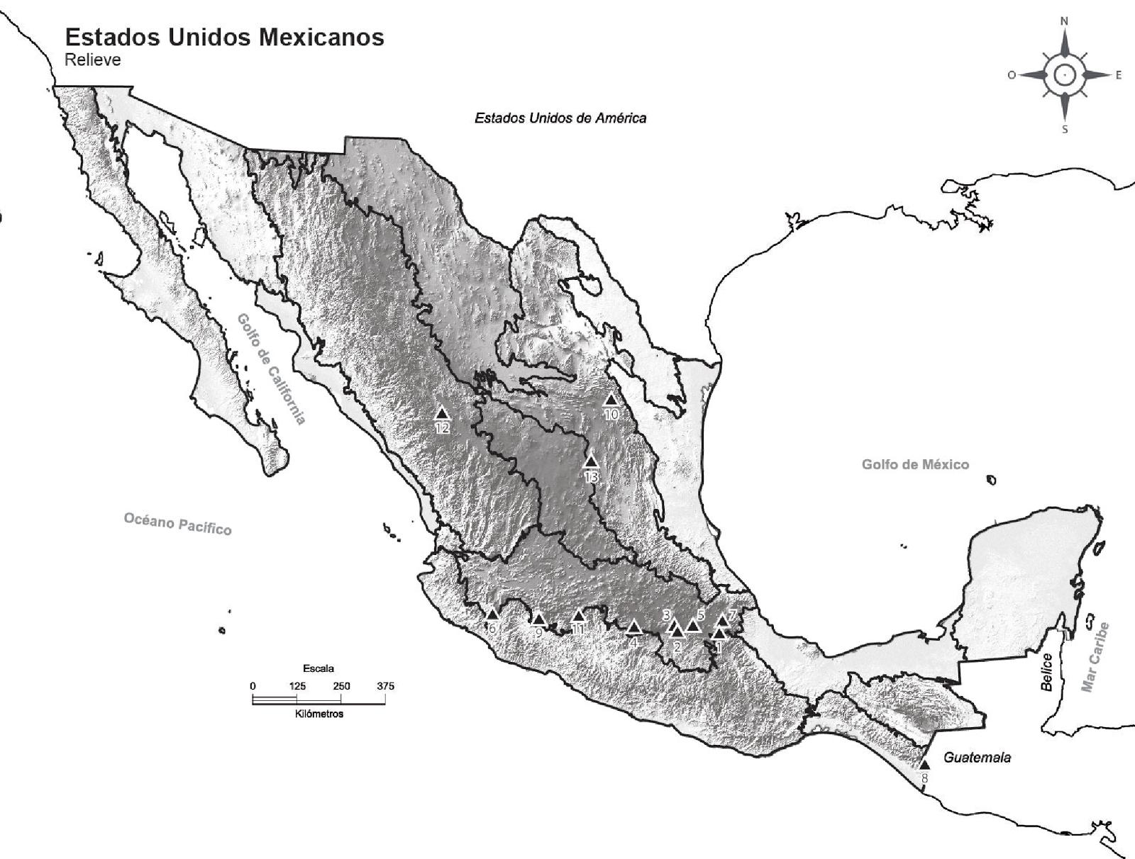 Mapas para imprimir del relieve de todas las entidades federativas