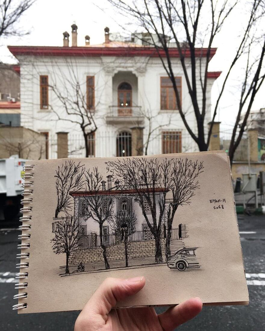 12-Drawing-vs-House-Erfan-Hasankhani-Ink-and-Color-Architectural-Drawings-www-designstack-co