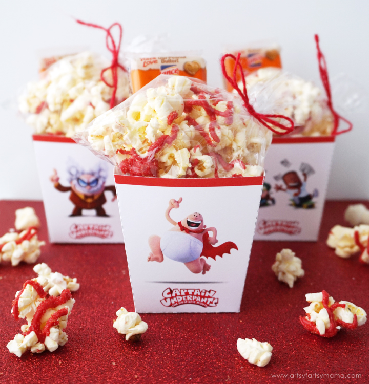 Captain Underpants Movie Night Ideas with Free Printable Popcorn Boxes