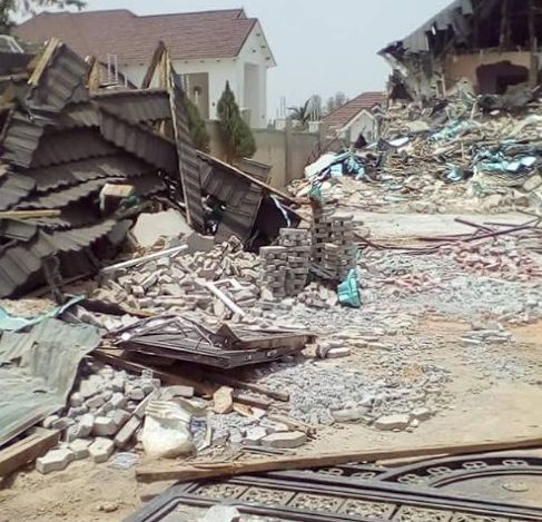 Image result for El-Rufai demolishes APC chieftain's house in Kaduna