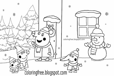 Mummy pigs house Emily elephant George and Peppa pig Christmas coloring pages snowman printable easy