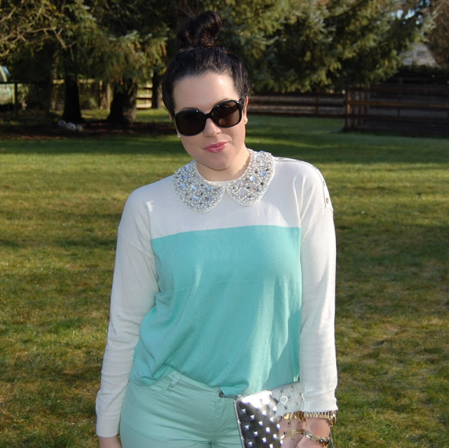 Mint forever 21 sweater and jeans, H & M rhinestone collar