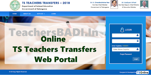 ts teachers transfers 2018 web portal started for transfers web counselling,ts teachers transfers 2018 website,ts teachers transfers 2018 web portal,ts teachers transfers 2018 district wise seniority list,vacancies list,online application form,web options entry,web counselling user guide,schedule,place allotment order