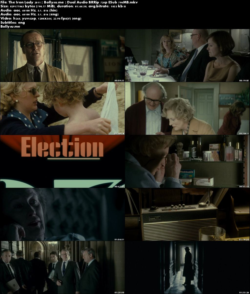 The Iron Lady 2011 BRRip 800MB Hindi Dual Audio 720p ESub