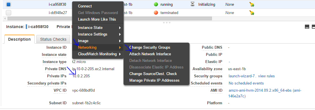 Attaching a Network Interface from one Ec2 instance to
