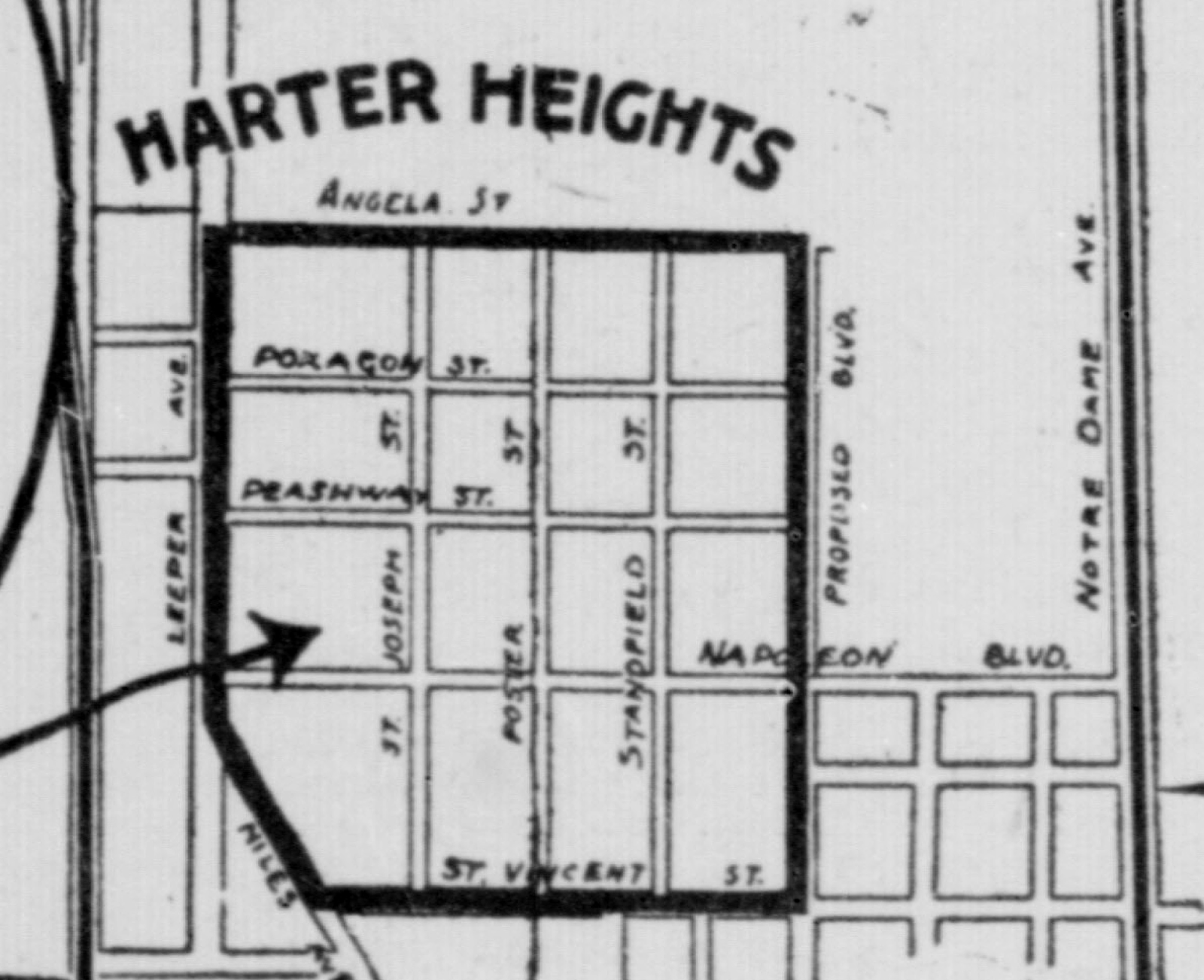 the proposed north south boulevard on the map was never built