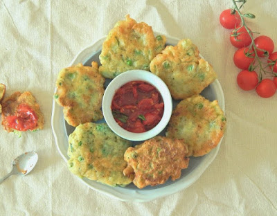 Pea and Courgette Fritters with Smoky Tomato Chutney