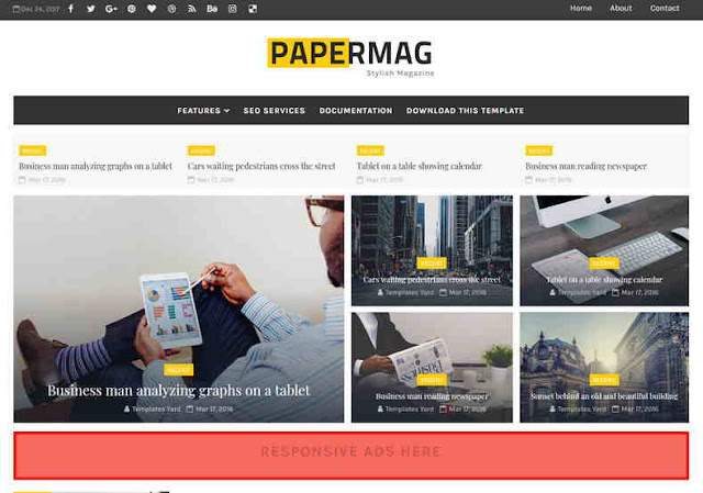 PaperMag Blogger Template , Blogspot Templates 2018