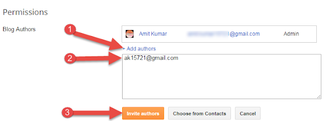 Invite blogger secondary email id