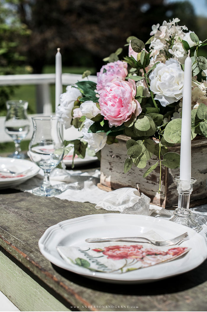 Al fresco summer tablescape with peony flowers