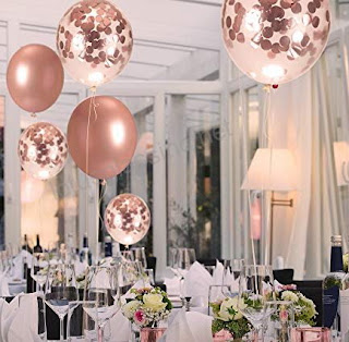 Chrome rose gold balloons and rose gold confetti balloons for party decoration ideas