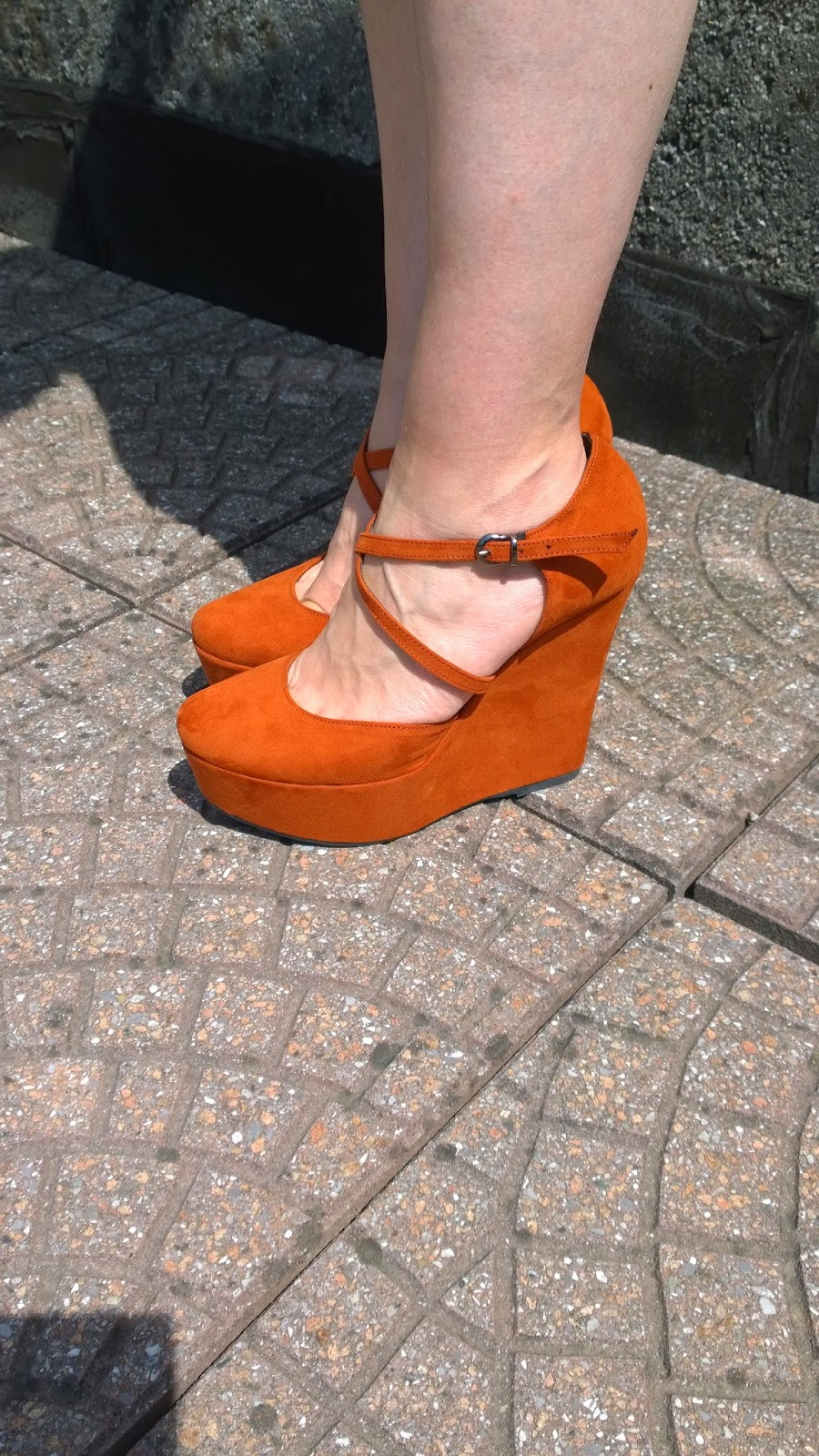 Rust coloured wedge pumps